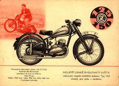 """Czech motorbike ČZ 125/150c, """"Chimney sweep"""" from 1952"""