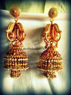 Antique Gold Jhumka Earrings Design