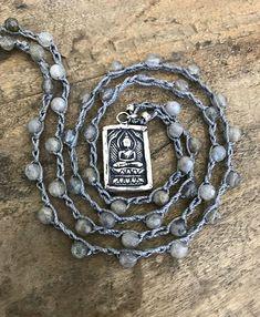 Buddha Necklace Boho Silver Jewelry Crochet Necklace