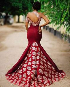 Ivory Lace Burgundy One Shoulder Mermaid Long Evening Prom Dress Party – Laurashop
