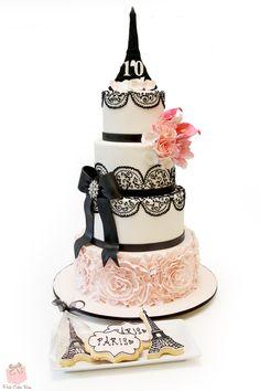 Paris themed birthday cake with  an Eiffel Tower Cake topper! #Parisian #Ruffle #Flowers