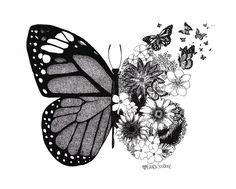Mini Tattoos, Flower Tattoos, Body Art Tattoos, Tattoo Drawings, Small Tattoos, Cool Tattoos, Tatoos, Blue Butterfly Tattoo, Butterfly Tattoo Designs