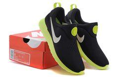 Nike Roshe Run Mens Black fluorescent green Shoes