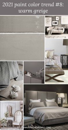 Find out the paint colors that have been chosen as the 2021 color of the year by Pantone, Benjamin Moore, Sherwin Williams and Behr. There's grey, blue, green and yellow...so lots of choice for 2021 interior design trends that will update your room decor. | Home Decor Trends Office Paint Colors, Bedroom Paint Colors, Interior Paint Colors, Paint Colors For Living Room, Paint Colors For Home, Wall Colors, Best Greige Paint Color, Dark Paint Colors, Behr Paint Colors