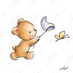 The drawing of cute teddy bear chasing a butterfly. Printable Art. Digital file. Instant Download