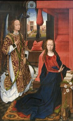 The Annunciation (1465-75).Hans Memling (Netherlandish, active by 1465–died 1494).Oil on wood. The Metropolitan Museum of Art.
