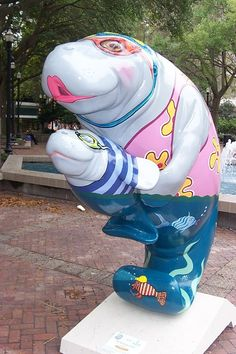 In 2005, dozens of colorful manatee statues decorated streets and parks in Jacksonville, Florida. After SuperBowl 2005, these fiberglass statues, designed by Jacksonville's Sally Corporation and various artists, were auctioned off. The proceeds benefitted the Otis Smith Kids Foundation which teamed up with the Cultural Council of Greater Jacksonville to bring Sea Cows for Kids to Northeast Florida. The highest price paid for one was $6,000.