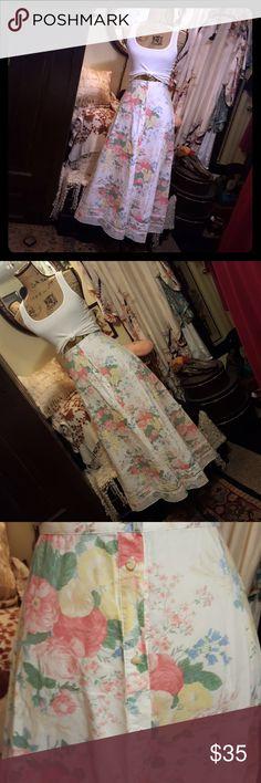 9d994ab76ca Lauren Ralph Lauren Long Skirt LRL Long Button Up Skirt White with Pink    Yellow Flowers