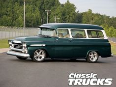 Check out Kurt & Barbara Tape's 1959 Chevy Suburban which is powered by a 2000 engine with Sanderson headers, only at Classic Trucks Magazine. Chevrolet Van, Chevrolet Suburban, Chevrolet Trucks, Chevy Trucks, Pickup Trucks, Lifted Trucks, Chevrolet Impala, Gas Monkey, Hot Rod Trucks