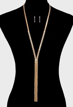 """Gold and Crystal Fringe Long Necklace Gold long necklace with a row of crystals leading to long gold chain fringe. Necklace measures 27"""" plus 8"""" fringe. Bonus"""