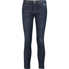 Current/Elliott The Stiletto distressed mid-rise skinny jeans ($55) ❤ liked on Polyvore featuring jeans, pants, bottoms, dark denim, torn jeans, dark blue jeans, skinny fit jeans, ripped jeans and button-fly jeans