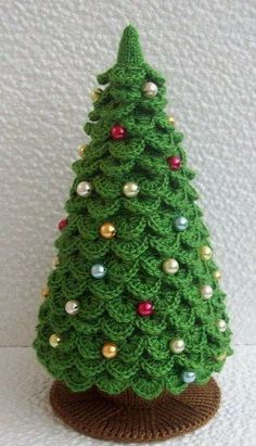 knitted christmas tree Arbolito de crochet