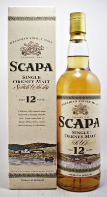 Scapa Scotch Whisky 14 year old 40%  Old discontinued bottling of Scapa Distillery 12 year old Single Malt Scotch Whisky. This is my favorite whisky on the planet! I have a bottle of it that was given to me as a going away present when I left Orkney at the end of summer 2005. One of these days, I should break it open and drink it, but not until I can replace the bottle.