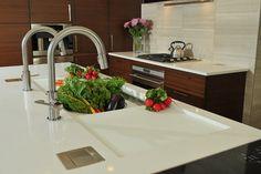 Gorgeous modern kitchen with a 5 1/2' Galley Workstation. Kitchen design by Kitchen Studio of Glen Ellyn.