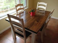 Sue 4.5ft foot long farmhouse dining kitchen table all wood in dark walnut and ivory white base with chairs nook