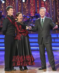 """Tristan McManus & Valerie Harper with host Tom Bergeron after dancing the Paso Doble to Santa Esmeralda's """"Don't Let Me Be Misunderstood"""" -  Dancing with the Stars  -  Week 2  -  season 17  -  fall 2013"""