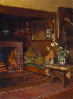 Mary Hiester Reid, A Fireside, c. 1910, oil on canvas, 61.2 x 46 cm, Art Gallery of Ontario, Toronto. #ArtCanInstitute #CanadianArt