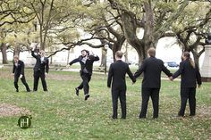 Bridal Party playing Red Rover. The Battery, Charleston SC  Fun bridal party ideas.