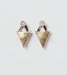 Mixed Metal AEO Triangle & Stud Front-To-Back Earrings