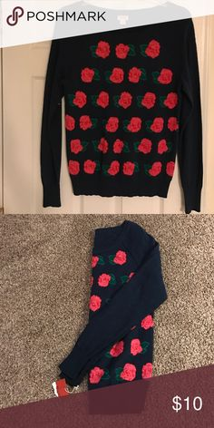 Sweater Never Worn Navy Blue Sweater with Pink Flowers Never Worn size XL Sweaters Cardigans