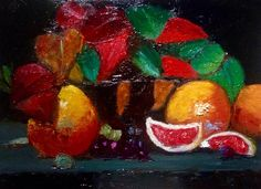 """Grapefruit And Leaves   8"""" x 10""""   Oil Painting   If interested, email me @ lamerledeca@gmail.com"""