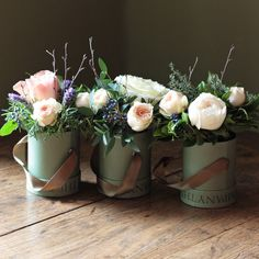 The Real Flower Company Scented Woodland Trio make beautiful miniature, aromatic, arrangements. With perfumed ivory and antique roses, lavender, rosemary, thyme and seasonal foliage finished with berries and birch.