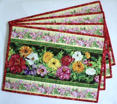 Quilted Placemats - Table Mats - Floral Placemats - Spring Summer place mats - Set of 4