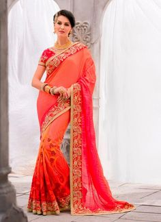Charming Embroidered Work Orange Classic Designer Saree