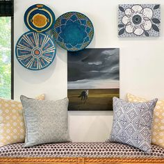 "CWD Studio + Home on Instagram: ""Weather the Storm ☔️ // CENTER art by @carmenrussellstudios Fields (2019), oil on canvas, 20"" x 24"" and TOP RIGHT art by…"" Storm Center, Home Studio, Fields, Oil On Canvas, New Homes, Tapestry, Weather, Interior Design, Top"