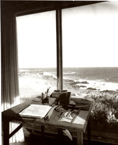 """This is what my PERFECT writing space would look like. """"Another of Pablo Neruda's writing spaces in Chile, from Alastair Reid's book """"Pablo Neruda: Absence and Presence"""""""" Pablo Neruda, Writing Corner, Writing Desk, Writing Studio, Room Of One's Own, A Writer's Life, Window View, Wabi Sabi, Writing Inspiration"""