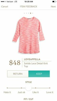 Loveappella sotida lace detail knit top