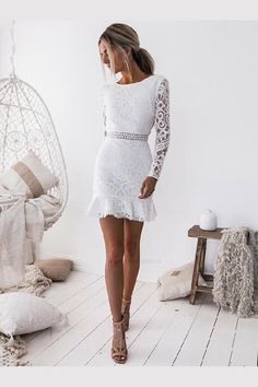 White Lace Homecoming Dresses, Homecoming Dresses With Sleeves, Homecoming Dresses White, Homecoming Dresses Lace Elegant Dresses, Sexy Dresses, Short Dresses, Summer Dresses, Ladies Dresses, Pretty Dresses, Casual Dresses, Long Sleeve Short Dress, Tight Dresses