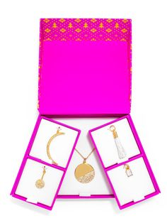 """If you want someone to just adore you, it's as easy as buying them this charm necklace set. This set of classic gold and crystal charms (plus, one white tassel!) will help you build your first charm necklace. This season, your gift is dressed to impress - this 6-piece charm & chain set comes prepackaged in a custom BaubleBar gift box with a festive graphic motif that is ready to ship to your gift recipient! Set includes 5 charms and 1 27"""" braid chain."""