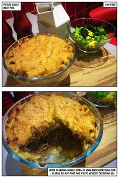 These syn free potato crust meat pies combine a delicious filling with a simple mash crust for a hearty Slimming World meal! Remember, at www.twochubbycubs.com we post a new Slimming World recipe nearly every day. Our aim is good food, low in syns and served with enough laughs to make this dieting business worthwhile. Please share our recipes far and wide! We've also got a facebook group at www.facebook.com/twochubbycubs - enjoy!