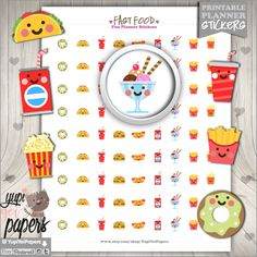 Food Stickers, Meal Stickers, Meal Planner Stickers, Printable Planner Stickers, Erin Condren, Kawaii Stickers, Planner Accessories, Meal