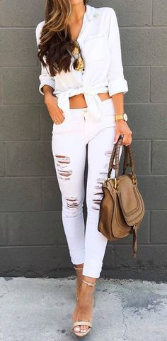 white outfit idea: top + bag + rips + heels