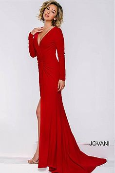 Red Long Sleeve Ruched Dress 36226