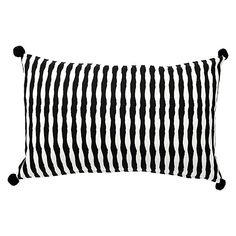 Bestow an air of playfulness upon your living room or bedroom décor with the fun, stripy print and pom pom-cornered Noah Cushion from L&M Home.