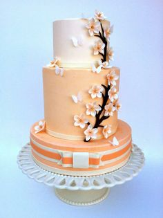 Peach floral cake Cute sweet 16 cake