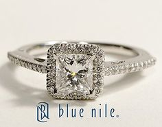 Princess Cut Halo Diamond Engagement Ring in Platinum #BlueNile