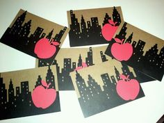 Adorable DIY invitations, use a circuit to cut out apple onto the skyline.