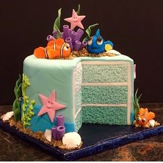 Single level layer cake with different blue tones.