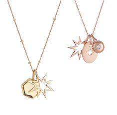 Star charm, gold disc and jewel charm pendant set - DIY Silber Necklake Moon Jewelry, Star Jewelry, Star Pendant, Pendant Set, Fashion Necklace, Fashion Jewellery, Gold Jewellery, Or Rose, Rose Gold