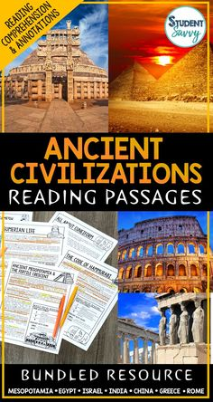 Ancient Civilizations Reading Comprehension Passages, Worksheets, Questions, and Annotations Bundle! This bundle contains 7 StudentSavvy Reading Passage Resources! It contains a total of 35 Engaging, Non-Fiction Reading Comprehension Passages with Directions for Student Annotations! Reading Comprehension Questions also included! Units include: Ancient Mesopotamia, Ancient Egypt, Ancient Israel, Ancient India, Ancient China, Ancient Greece, and Ancient Rome Ancient Mesopotamia, Ancient Civilizations, Ancient Egypt, Ancient Greece, Reading Comprehension Passages, Comprehension Questions, French Language Learning, Learning Spanish, Language Arts