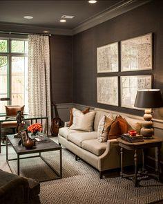 "Masculine Interiors. Great Masculine Interior Ideas. #Masculine #Interiors The trim is high gloss ""Graystone 1475 Benjamin Moore""."