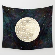 Buy The Flower of Life Moon 2 Wall Tapestry by Klara Acel. Worldwide shipping…