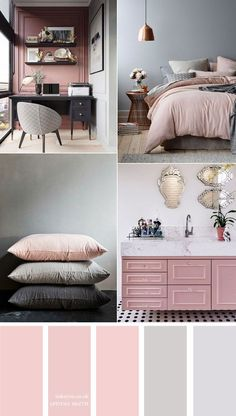 Pink and grey color scheme { 15 House Color Palette Ideas } Beautiful color palette of dark blue and orange colour combos. The perfect autumn colour palette for lifestyle project, home painting color, wedding or any party color theme etc. House Color Schemes Interior, House Color Palettes, Colour Combinations Interior, Apartment Color Schemes, Bedroom Colour Palette, Bedroom Color Schemes, Grey Color Schemes, Fall Color Palette, Best Colour For Bedroom
