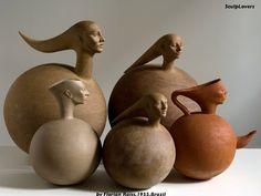 Conjunto de Esculturas en Ceramica. FLORIAN RAISS. Brasil. Ceramic Pottery, Ceramic Art, Abstract Words, Ceramic Figures, Sculpture Clay, Clay Art, Earthenware, Carving, Vase