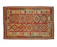 Kilim reversible hecho a mano en lana Maimana - 198x131cm
