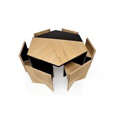 Hexagonal Table with Nesting Chairs by Rafael de Cardenas - This is one cool set!